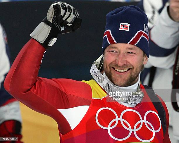 Kjetil Andre Aamodt from Norway pumps his fist 18 February 2006 following the Men's SuperG in Sestriere Borgota Italy Aamodt who stopped the clock at...