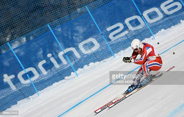 Kjetil Andre Aamodt from Norway speeds down the course 12 February 2006 during the Men's Downhill race in Sestriere Borgata Italy The 1994 men's...