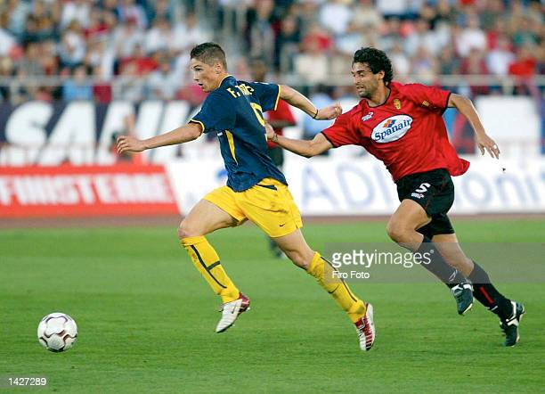 Fernando Torres of Atletico Madrid and Fernando Nino of Real Mallorca in action during the Primera Liga match between Real Mallorca and Atletico...