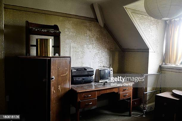 TV set and tape player is seen in one of the guest bedrooms in Pineheath house on September 4 2013 in Harrogate England The untouched 40bedroom house...