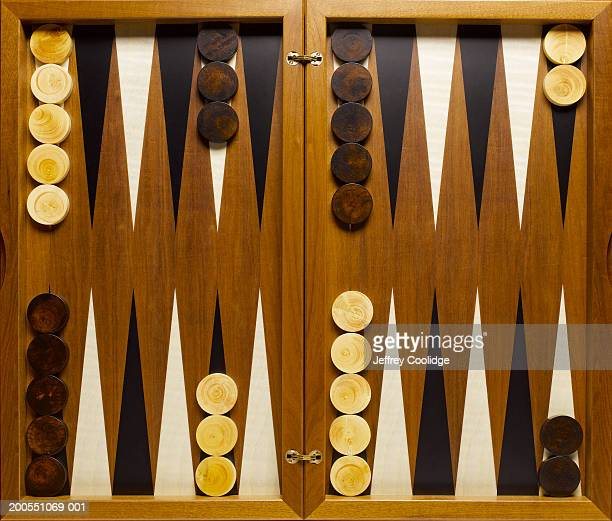 set backgammon board, overhead view - backgammon stock pictures, royalty-free photos & images
