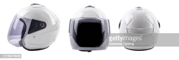 set collection of white motorcycle carbon integral crash helmet isolated on white background. motorsport car kart racing transportation safety conce - sports helmet stock pictures, royalty-free photos & images