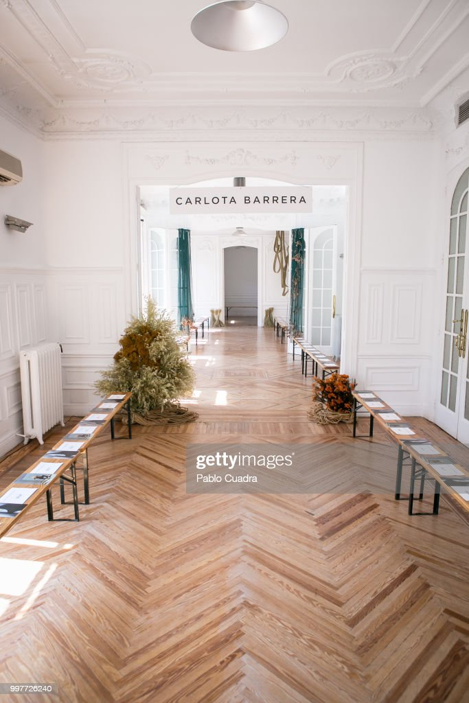 Set design at Carlota Barrera's fashion show, designed by Puntofilipino and Carlos de Troya is seen at Casa Velazquez on July 12, 2018 in Madrid, Spain.