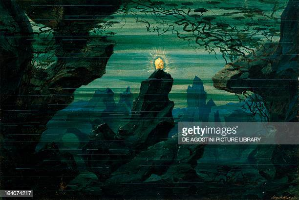 Set design by Angelo Quaglio for The Rhein gold from The Ring of the Nibelung cycle by Richard Wagner performed at Monaco Opera house November 17...