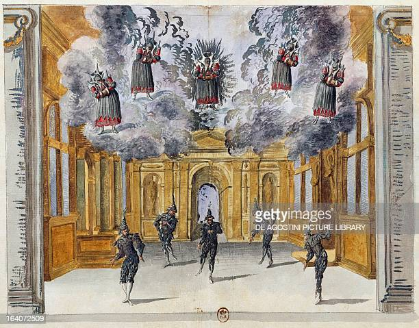Set design by Jean Berain the Elder for Le feste di Amore e di Bacco ballet by JeanBaptiste Lully performed at the PalaisRoyal in Paris November 15...
