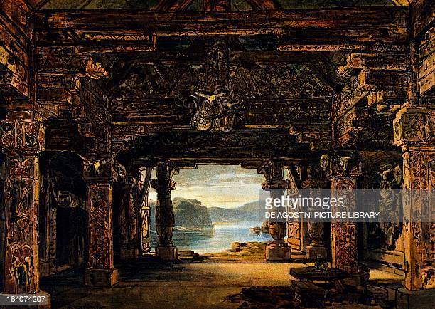 Set design by Max Bruckner for Act I of The Twilight of the Gods from The Ring of the Nibelung cycle by Richard Wagner performed in 1906 Paris...