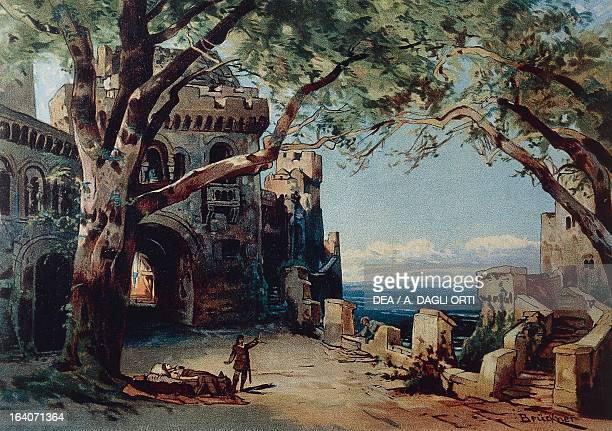 Set design by Max Bruckner for Act III of Tristan and Isolde opera by Richard Wagner performed in 1886 Bayreuth RichardWagnerMuseum