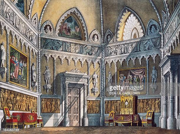 Set design by Pasquale Canna for the ballroom in The marriage of Figaro K 492 by Wolfgang Amadeus Mozart Rome Raccolta Teatrale Del Burcardo