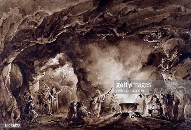 Set design depicting the witches' cave watercolor for the performance of Macbeth opera by Giuseppe Verdi Sant'Agata Di Villanova Sull'Arda Villa Verdi