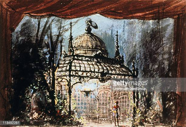 Set design for Mozart's Magic Flute, 1791 . , opera by Wolfgang Amadeus Mozart with libretto by Emanuel Schikaneder was first produced in Vienna in...
