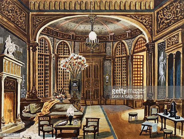 Set design sketch for the first act of the premiere of the opera Fedora by Umberto Giordano performed at the Teatro Lirico in Milan November 17 1898