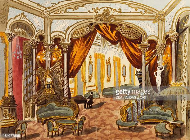 Set design sketch for the second act of the premiere of the opera Fedora by Umberto Giordano performed at the Teatro Lirico in Milan November 17 1898