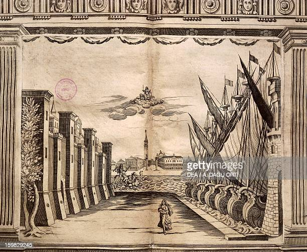 Set design with Venice in the background from Apparati Scenici per il Teatro Nuovissimo dell'Opera Pubblica di Venezia by Giacomo Torelli from Fano...