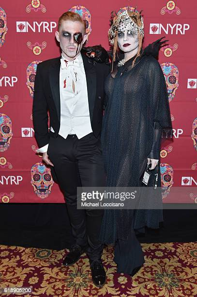 Set designer Douglas Little and Jodi Lyn O'Keefe attend the 2016 Hulaween Party Celebrating New York Restoration Project's 21st Anniversary at The...