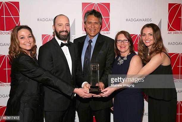 Set Director Cindy Slagter presenter Tony Hale Production Designer Richard Toyon with award for HalfHour SingleCamera Series Art Director LJ...