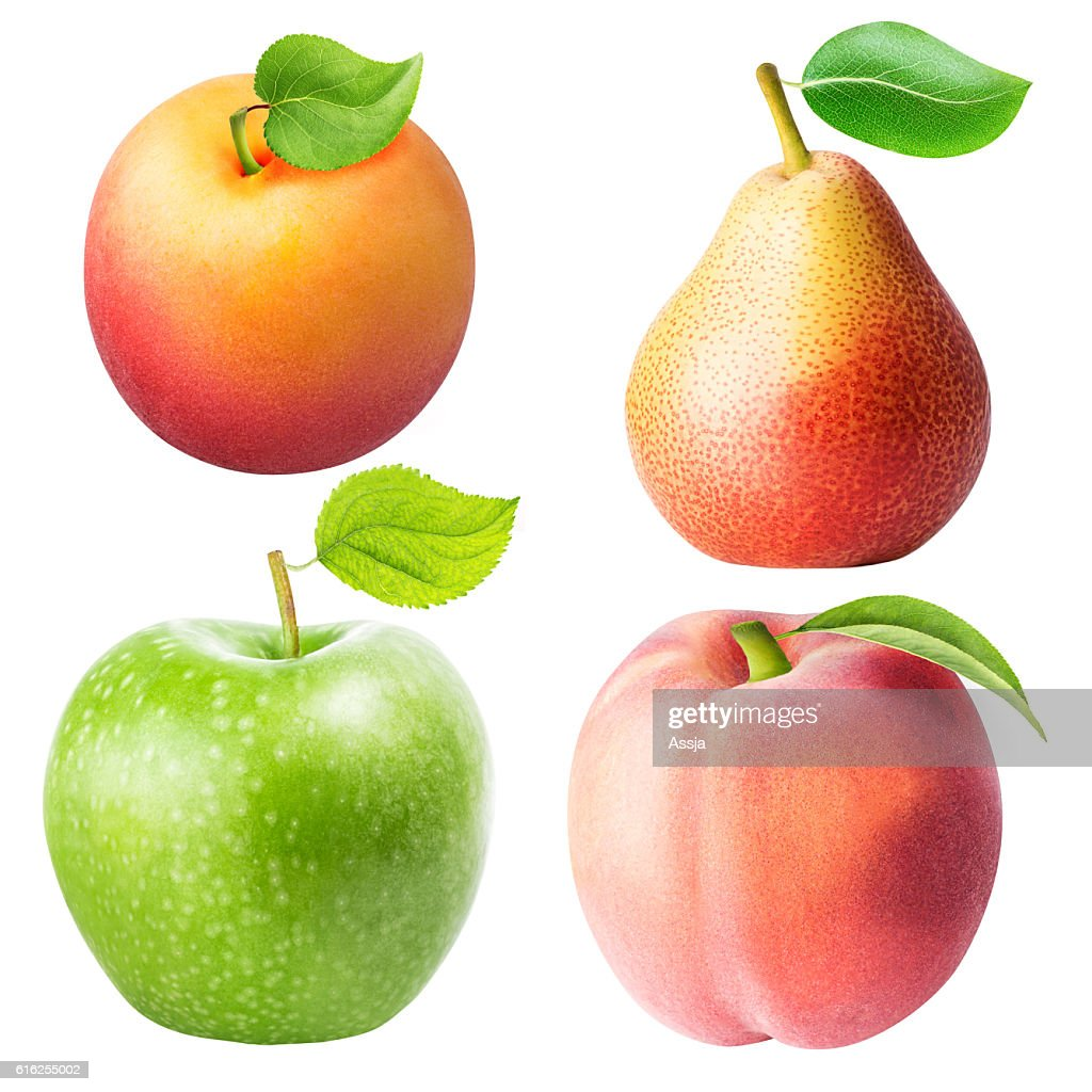 Set from apple, pear, apricot, peach isolated on white backgroun : Foto de stock
