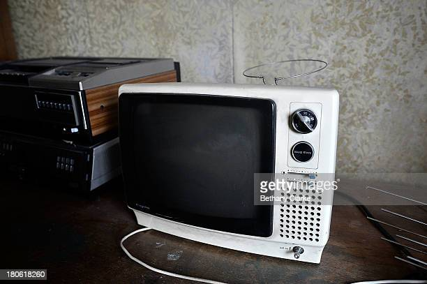 TV set is seen in one of the guest bedrooms in Pineheath house on September 4 2013 in Harrogate England The untouched 40bedroom house belonged to...
