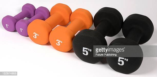 A set of 1 to 5Kg Dumbbells Studio shoot on October 24 United Kingdom