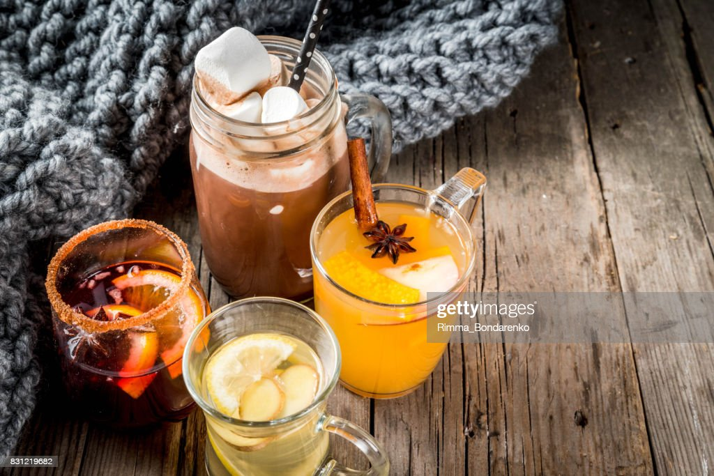 Set of 4 autumn drinks : Stock Photo