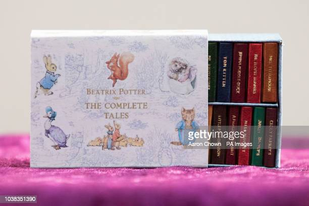 A set of Beatrix Potter The Complete Tales on display at the Miniatura Dolls' House and Miniatures show at the National Exhibition Centre in...