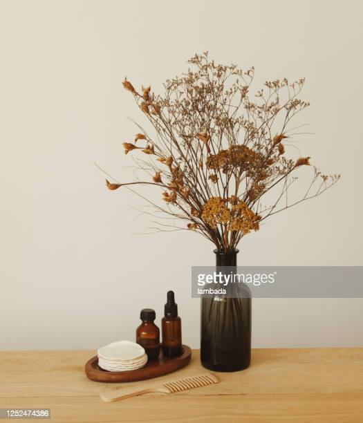 set von schönheitsprodukten und pflegeprodukten und vase mit blumen - beauty in nature stock-fotos und bilder