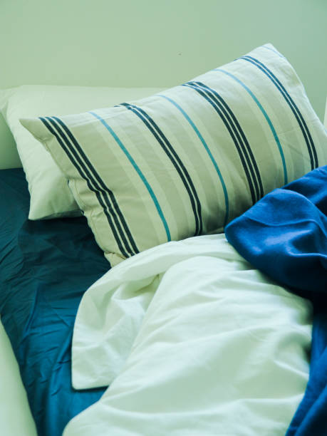 A Set of Beddings in Blue and White Tone in Messy Condition