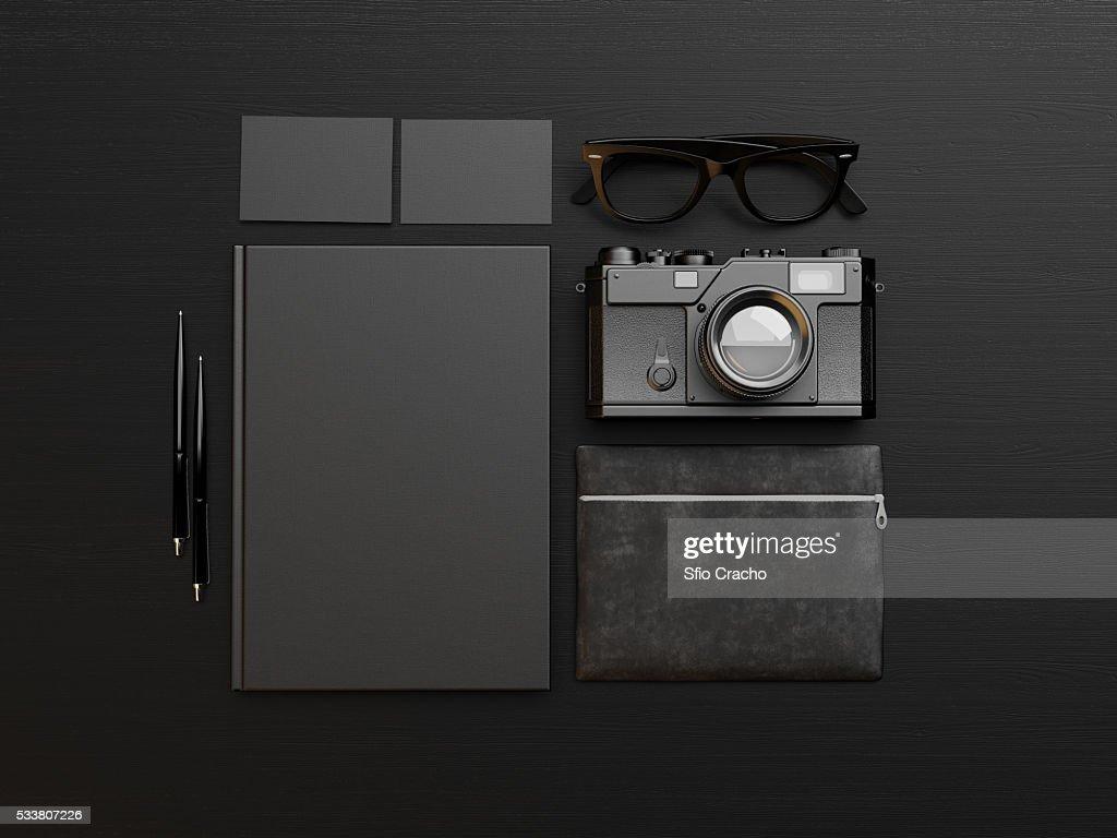 Set of black identity elements. 3d render : Foto stock