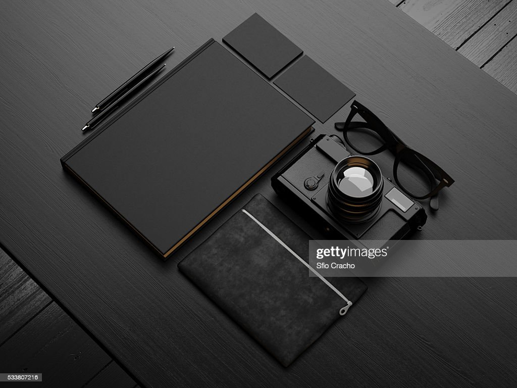 Set of black mockup. 3d render : Foto stock