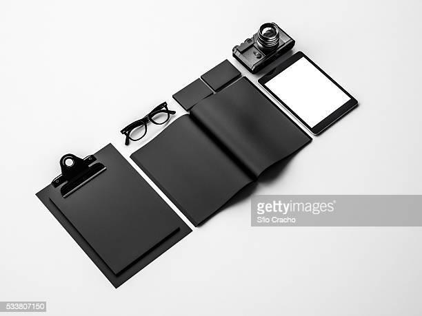 Set of black mockup elements. 3d rendering