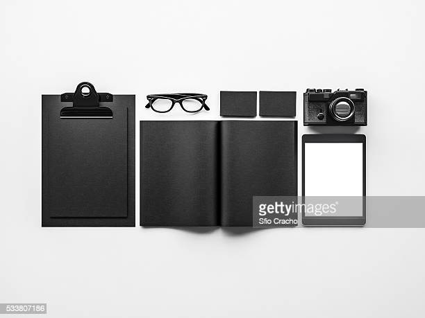 Set of black mockup elements. 3d rendering