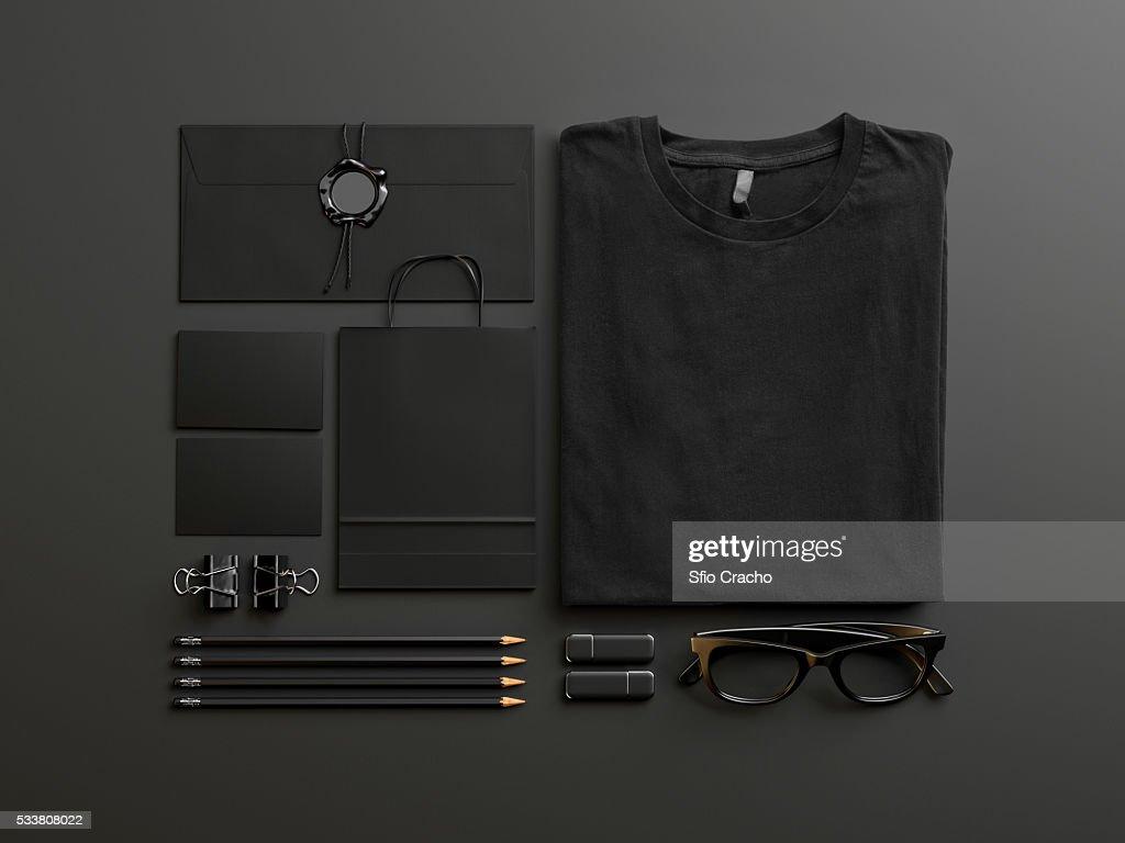 Set of black mockup elements on black background : Foto stock