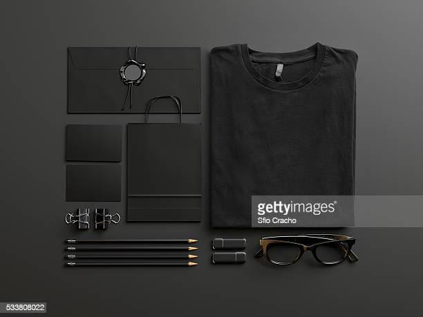 Set of black mockup elements on black background