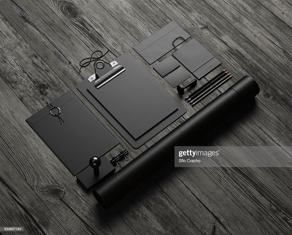 Set of black mockup elements on table. 3d render : Foto stock