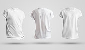 Set of blank men's t-shirts with shadows, front and back view. Design template on a white background.