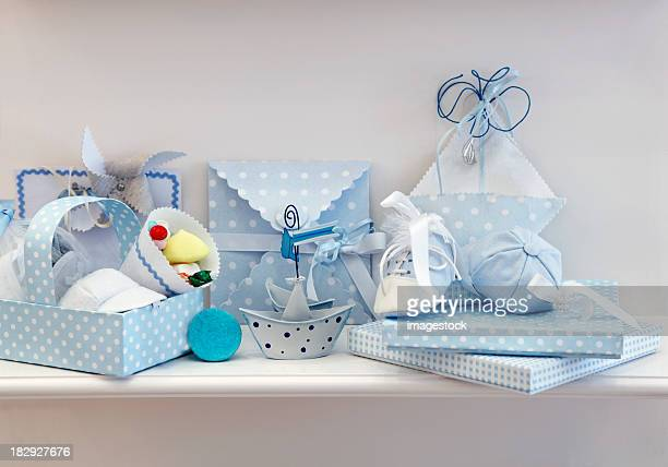 Set of blue newborn baby accessories