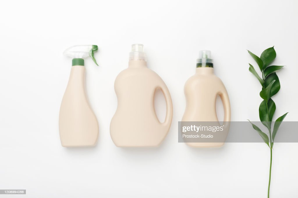 Set of bottles with mockup packaging, cleaning detergent : Stock Photo