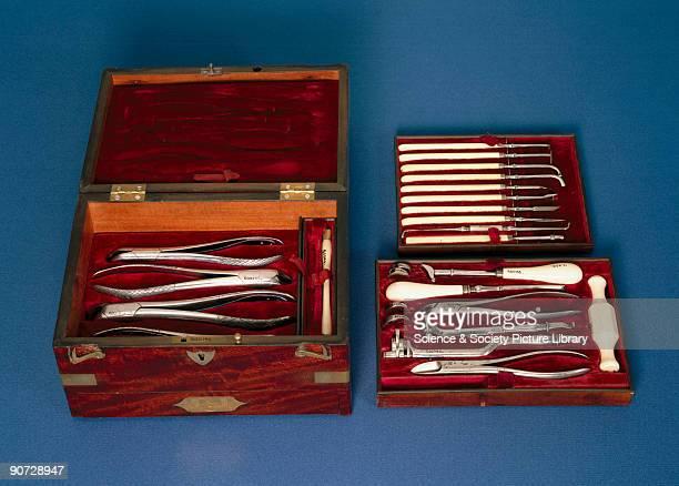 Set of brass instruments in a velvetlined mahogany case by Savigny Everill Mason 67 St James Street London
