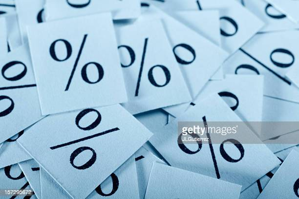 Set of cards with percentage symbols on