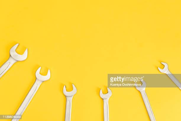 set of carpentry tools on white background with copy space top view. carpenter working table. carpentry and woodwork industry flat lay concept - toolbox stock pictures, royalty-free photos & images