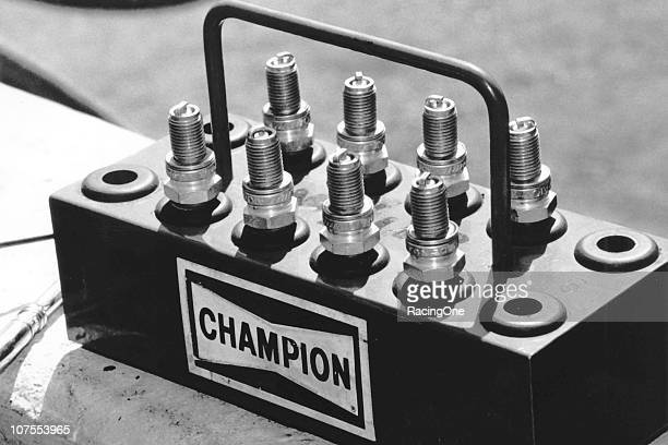 A set of Champion spark plugs awaits its use in a NASCAR Cup racing engine