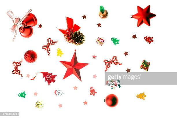 set of christmas decoration, isolated on white - chinese lantern lily stock pictures, royalty-free photos & images