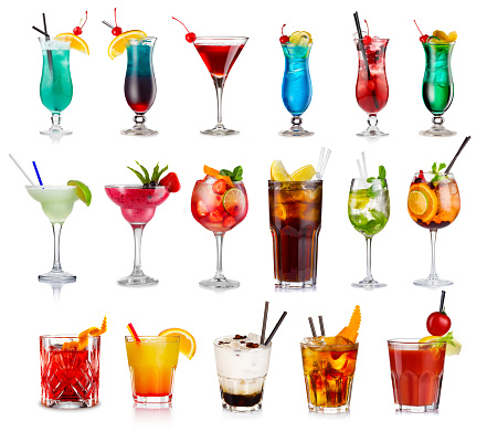 Set of classic alcohol cocktails isolated 864482870