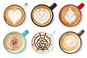 Set of coffee latte or cappuccino foam art