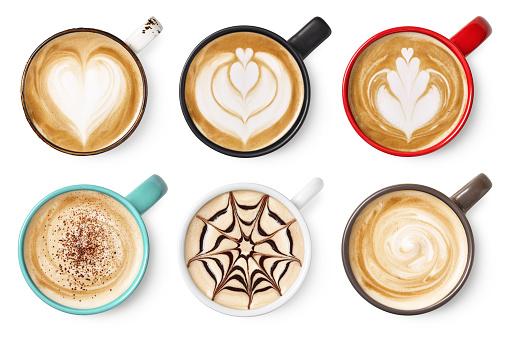 Set of coffee latte or cappuccino foam art 1169132256