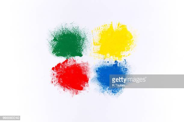 Set of colorful watercolor brush strokes on white paper