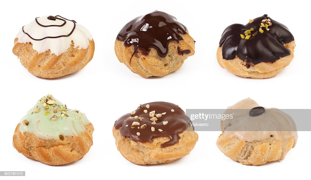 Set of cream pastry puffs  isolated on white background : Stock Photo