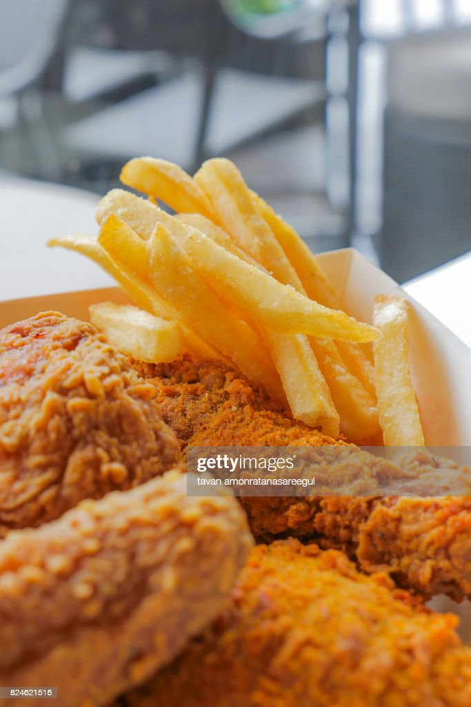 Set Of Crispy Deep Fried Chicken And French Fries Unhealthy Eating