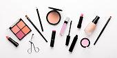 Set of decorative cosmetics for mass market on white