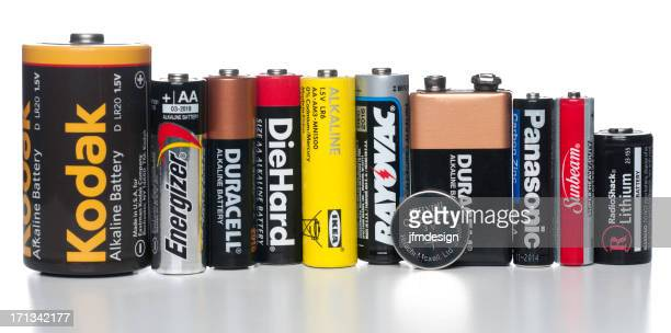 set of different battery brands - duracell stock pictures, royalty-free photos & images