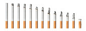 Set of different cigarettes isolated on white